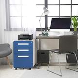3-Drawer Rolling File Cabinet with Lock, Pataku Metal Vertical File Cabinet on Wheels, Mobile File Cabinet Under Desk fits Legal/Letter/A4 Size for Home/Office, Fully Assembled, Blue