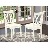 East West Furniture Clarksville Double X-Back Chairs Fabric Upholstered Seat in Linen White Finish