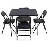 EventStable Titan Series Navy Folding Card Table and Navy Blue Metal Folding Chair Set - 5 Pieces