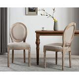 Retro French Round Back Dining Chairs Set of 2, Upholstered Linen Kitchen Chairs, Distressed Wood Chairs for Dining Room/Living Room/Bedroom (Beige)