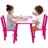GOTOTOP Kids Wooden Table and 2 Chairs Set,Toddler Children Study Furniture,Colorful Appearance Kids Furniture,Children's Study Activity Table Set Great Gift for Boys Girls(#6)