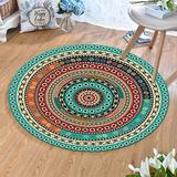 MOXIC Traditional Round Area Rugs Soft Living Room Bedroom Children Kids Crawling Rug Bathroom Mats Anti-Slip Persian Heriz Carpet Vintage Home Decorate Collection Circular Nursery Runners 4' X 4'