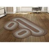 Country Braid Collection 3 Piece Set Durable & Stain Resistant Reversible Indoor Oval Area Rug by Better Trends in Straw Stripe