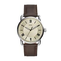 Fossil Men's Copeland Stainless Steel Quartz Watch with Leather Strap, Brown, 22 (Model: FS5663)