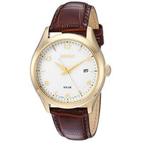 Seiko Mens Dress Stainless Steel Japanese-Quartz Watch with Leather Calfskin Strap, Brown, 20.5 (Mod