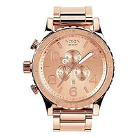 Nixon 51-30 Chrono. 100m Water Resistant Men's Watch (XL 51mm Watch Face/ 25mm Rose Gold Stainless S