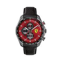 Ferrari Men's SPEEDRACER Stainless Steel Quartz Watch with Leather Calfskin Strap, Black, 22.5 (Mode