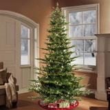Laurel Foundry Modern Farmhouse® Pre-lit Aspen Green Fir Artificial Christmas Tree w/ Clear/White Lights in Brown, Size 78.0 H x 54.0 W x 54.0 D in