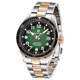Men's Watches Pagani Design Mechanical Watch for Men, Japanese Seiko NH35 Automatic Movement Stainless Steel Waterproof Wristwatch Analog Clock (Green)