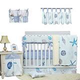 Brandream Baby Boys Crib Bedding Set Blue White Beach Theme Nautical Nursery Bedding with Starfish Seashell 9 Piece Cradle Set with Long Rail Cover,100% Cotton