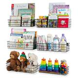 Wall35 Kansas Wall Mounted Black Bookshelf for Kids' Room Decor, Metal Wire Storage Basket Set of 6 (Varying Sizes)