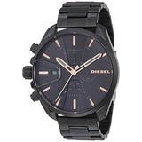 Diesel Men's MS9 Chrono Quartz Stainless Steel Chronograph Watch, Color: Black (Model: DZ4524)