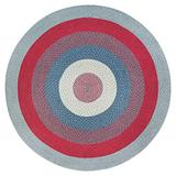 Anji Mountain Parish Round Jute Rug, 4' Diameter, Blue/Gray/Ivory/Purple/Red