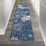 """Nourison Passion Navy/Ivory 2'2"""" x 7'6"""" Area Rug (8' Runner)"""