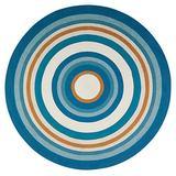 Anji Mountain Dupo Round Jute Rug, 8' Diameter, Blue/Ivory/Orange