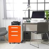 3-Drawer Rolling File Cabinet with Lock, Pataku Metal Vertical File Cabinet on Wheels, Mobile File Cabinet Under Desk fits Legal/Letter/A4 Size for Home/Office, Fully Assembled, Orange
