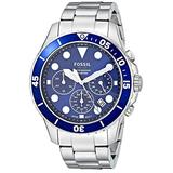 Fossil Men's FB-03 Quartz Stainless Chronograph Watch, Color: Silver, Blue Dial (Model: FS5724)