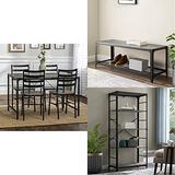 "Walker Edison Furniture Person Rectangle Kitchen Table Modern Industrial Farmhouse Wood Dining Chairs, 48"", Gray Wash | Shoe Rack, 48, Gray Wash | 4 Shelf Bookshelf Storage, 64 Inch, Grey"
