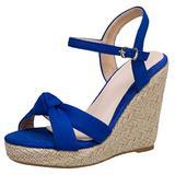Caradise Womens Platform Espadrille Wedge Ankle Strap Sandals Bow Open Toe Pumps Size 11.5 B(M) US,Royal Blue