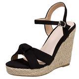 Caradise Womens Platform Espadrille Wedge Ankle Strap Sandals Bow Open Toe Pumps Size 11.5 B(M) US,Black