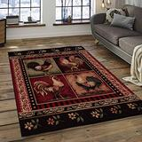 """Champion Rugs Wildlife Nature Rustic Lodge French Country Rooster Chicken Slice Accent Rug - Decor for Kitchen (5' 3"""" X 7' 5"""")"""