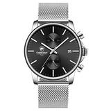 Men's Watch Fashion Sleek Minimalist Quartz Analog Mesh Stainless Steel Waterproof Chronograph Watches, Auto Date in Black Face, Color: Silver Black
