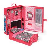 Badger Basket Home & Go Dollhouse Playset Travel & Storage Case with Bed/Bedding for 12-inch Fashion Dolls, Multicolor