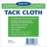 "Tack Cloth – 36 count, 3pcs per bag,12 bags/case,18""x36"" Tack Cloth for Woodworking, Tack Cloth for Painting, Tack Rag for Automotive, Metal, Sanding, Cleaning, Dusting, Staining by PRIM-TEX"