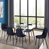 IDS Home 7 Piece Mid Century Clear Glass Top, Fabric Chairs of 6, Metal Leg Dining Room, Kitchen Table Set Furniture, Black