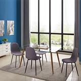 IDS Home 5 Piece Mid Century Clear Glass Top, Fabric Chairs of 4, Metal Leg Dining Room, Kitchen Table Set Furniture, Grey