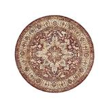 The Rug Truck - Taza Heriz Red Area Rug (5' Round)   Turkish Area Rug  Round Rug   Persian-Style Area Rug