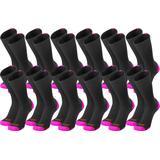 Twin City Baseline Breast Cancer Awareness Crew Socks Black/Hot Pink 12 Pack
