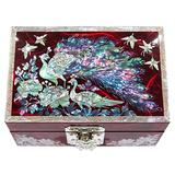 MADDesign Mother of Pearl Jewelry Watch Box Ring Organizer Hand Made Sea Shell Inlay Peacock Red