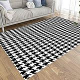 Area Rug Pad,Dethel 5X7 Abstract Area Rug Neutral Area Rug Houndstooth Pattern Fabric Background Rustic Area Rugs Area Rugs for Girls Dorm Area Rug