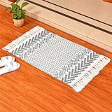 Abreeze Black White Bath Rug Runner, Boho Rug Kitchen, Tassel Throw Rug Runner Cotton Woven Bathroom Rug Runner with Modern Geometric Patten 2'x3'