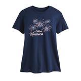 Women's Plus Short-Sleeve Graphic Tee, Navy/America 3XL