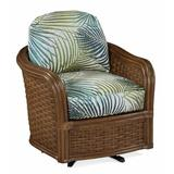 """Braxton Culler Somerset 28"""" Wide Swivel Barrel Chair Polyester/Polyester blend/Rattan/Wicker/Other Performance Fabrics in Blue/White/Brown 