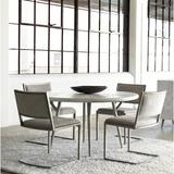 Bernhardt Dining Room Set - Bernhardt Highland Park 5 - Piece Dining Set, Wood/Upholstered Chairs/Metal, Silver/Gray/White, Small