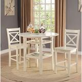 Rosecliff Heights Oswald 3 Piece Counter Height Dining Set Wood in Brown, Size 36.0 H x 40.0 W x 40.0 D in | Wayfair