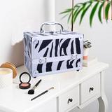 Rebrilliant Adal Aluminum Train Case Cosmetic Makeup Organizer Metal in White, Size 5.9 H x 5.9 W x 9.06 D in   Wayfair
