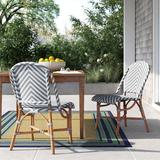 Longshore Tides Cleorand Bistro Patio Dining Chair Wicker/Rattan in Brown/Gray, Size 35.0 H x 20.0 W x 25.0 D in | Wayfair