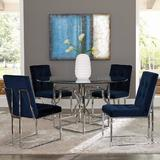 Everly Quinn Catarina 5 Piece Dining Set Glass/Metal/Upholstered Chairs in Gray, Size 30.0 H x 54.0 W x 54.0 D in | Wayfair