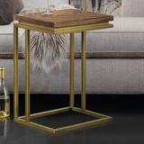 Everly Quinn Benner C End Table Wood/Metal in Brown/Green/Yellow, Size 24.0 H x 17.7 W x 13.8 D in | Wayfair B4A7C4485F5D4D28A8BECE1EC35BFCEC