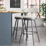 Industrial Lodge Home Wentworth Swivel Counter & Bar Stool Upholstered/Leather/Faux leather/Metal in White, Size 39.8 H x 18.5 W x 20.5 D in Wayfair