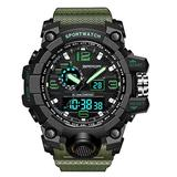 Mens Watches Outdoor Sports Watch Military Digital Watch for Men Army Wristwatch LED Stopwatch Waterproof Analog Electronic Watches (Green Army)