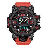 Mens Watches Outdoor Sports Watch Military Digital Watch for Men Army Wristwatch LED Stopwatch Waterproof Analog Electronic Watches (red)