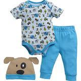 John Deere Baby Boys' Short Sleeve Set, Cyan Blue, 6-9M