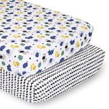 PS by The Peanutshell 2 Pack Safari Party & Chevron Fitted Crib Sheets, Multicolor
