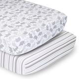 PS by The Peanutshell 2 Pack Elephants & Stripes Fitted Crib Sheets, Multicolor