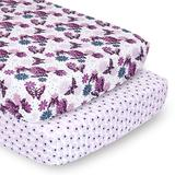 PS by The Peanutshell 2 Pack Floral Butterflies Fitted Crib Sheets, Purple